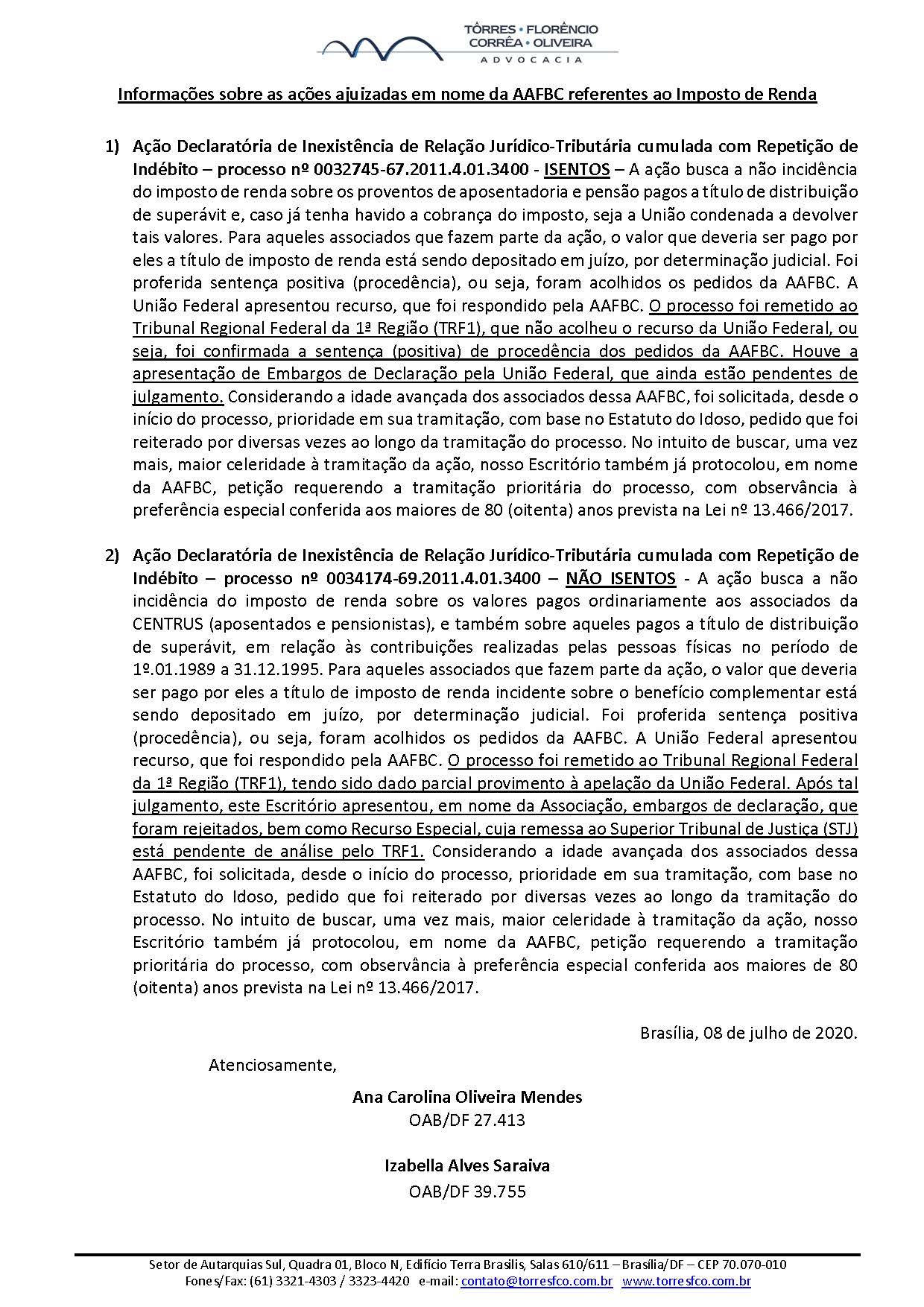 Informações AAFBC (julho 2020)